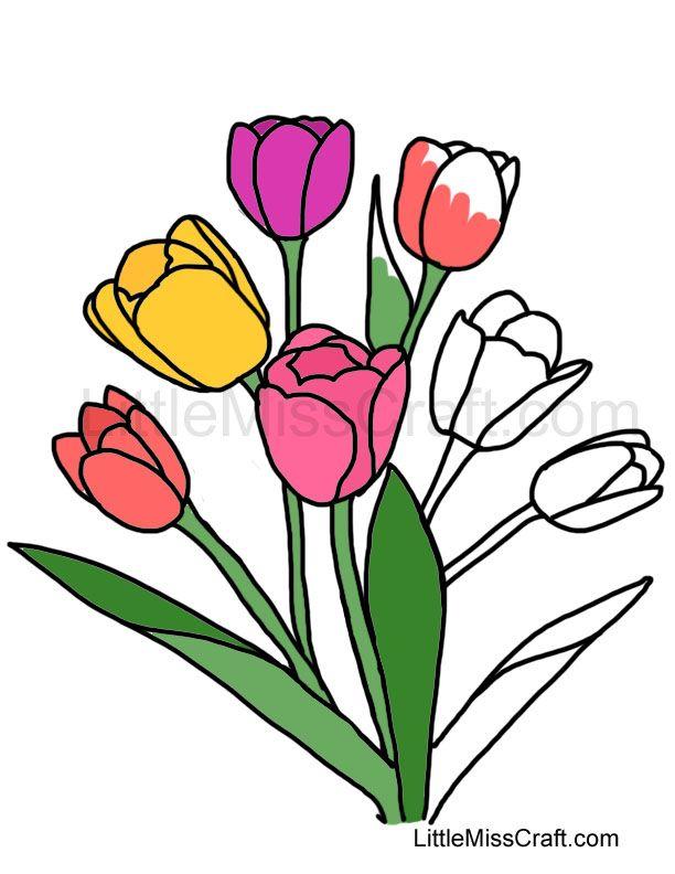 Tulip Bouquet Coloring Page   preschool   Pinterest   Tulip bouquet