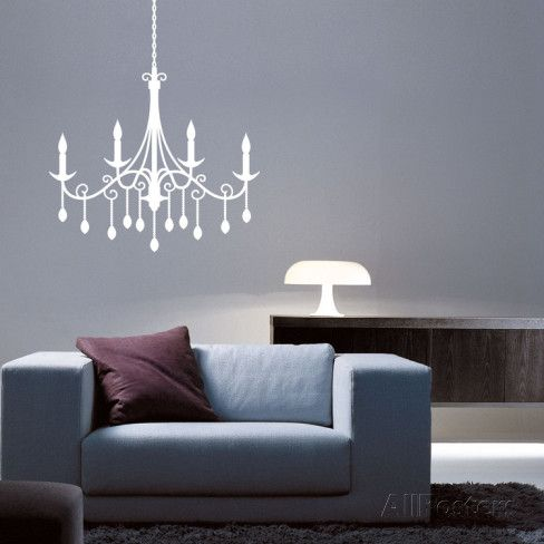 Jewel chandelier white wall decal wall decals chandeliers and whether above the doorway or adorning an accent wall this charming chandelier decal pairs classic style with contemporary charm aloadofball Gallery