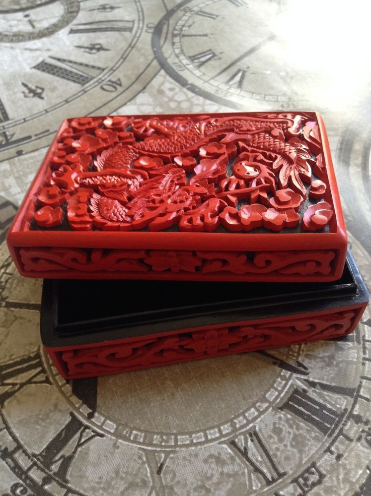 VINTAGE CHINESE RED CINNABAR LACQUER TRINKET BOX LOTUS FLOWER DECORATION  | eBay
