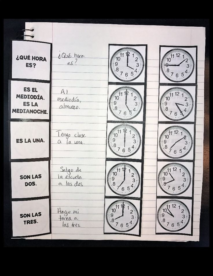 Spanish Time Flashcards Telling Time Interactive Notebook