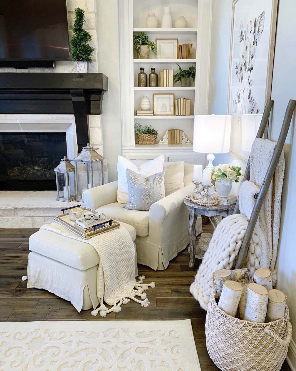 28 Extremely Cozy Fireplace Reading Nooks For Curling Up In Cozy Living Rooms Living Room Corner Eclectic Living Room