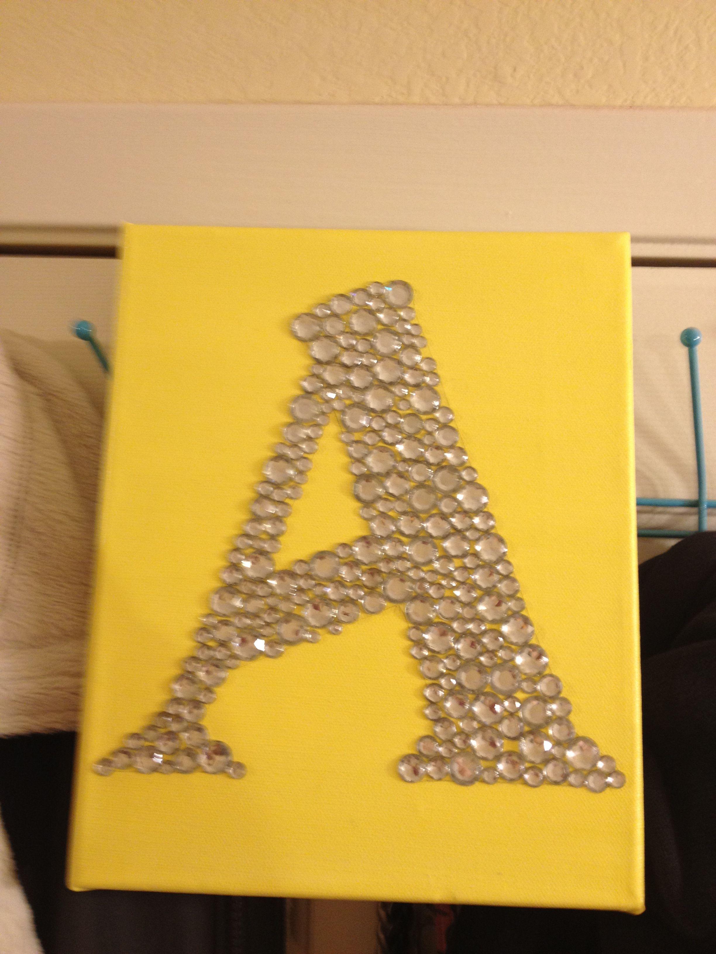 Paint canvas. Trace letter. Mod podge rhinestones! | Crafty ...