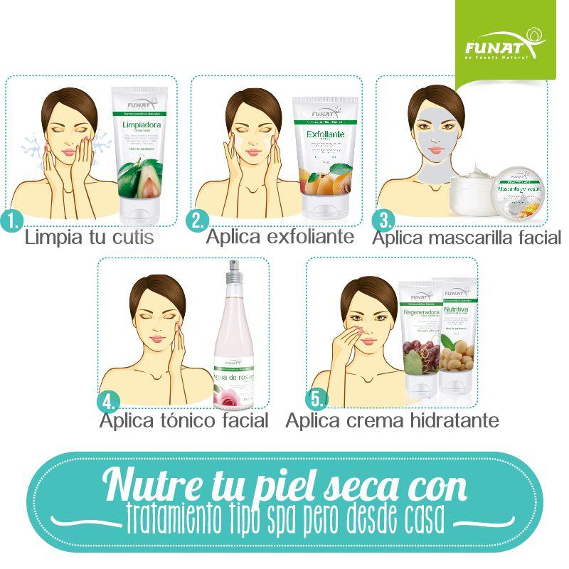 1. Remueve maquillaje y suciedad con crema limpiadora de aguacate 2. Remueve las células muertas una vez por semana con gel facial exfoliante de uchuva y semillas de albaricoque 3. Aplica mascarilla de yougurt para nutrir e hidratar 4. Aplica tónico facial de agua de rosas 5. Aplica la crema Regeneradora de uva, Nutritiva de Soya o Fun-Age antiedad.