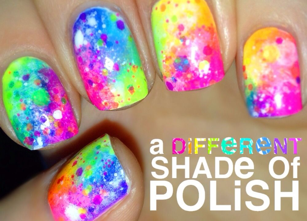 Rainbow Nails with Neon Glitter Indie Polish \