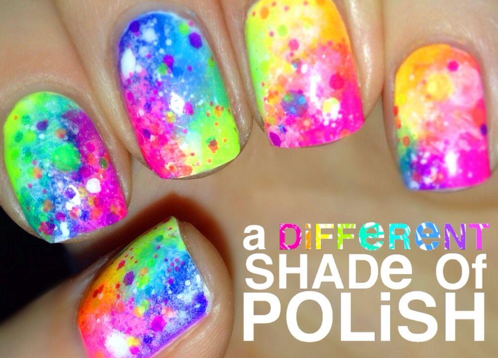 Rainbow Nails with Neon Glitter Indie Polish \