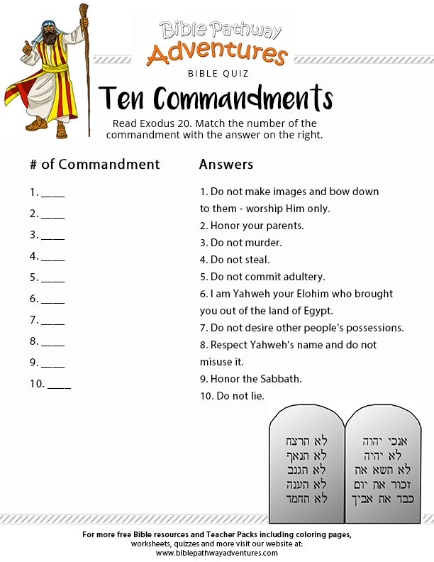 picture regarding Free Printable Sunday School Lessons for Kids titled 10 Commandments Bible Quiz Trivia Online games for Church