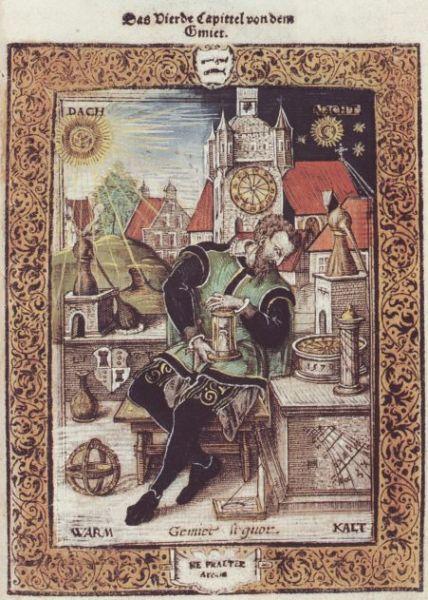 Hand Colored Engraving Quinta Essentia By Leonardt Thurneisser 1570