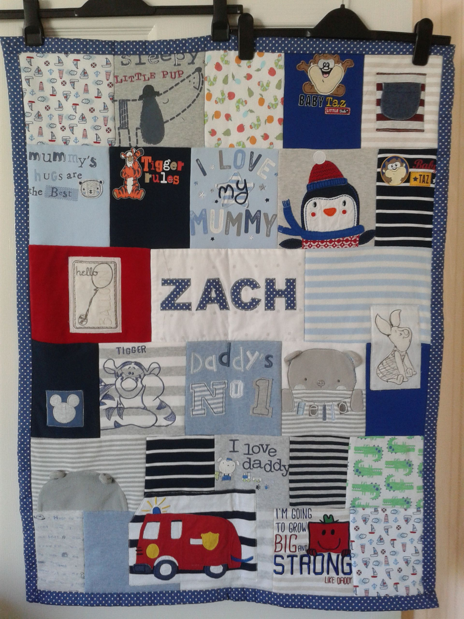 Keepsake blanket made from baby clothes with fleece backing and