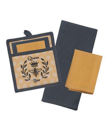 Loving this 'Queen Bee' Kitchen Linen Gift Set on #zulily! #zulilyfinds