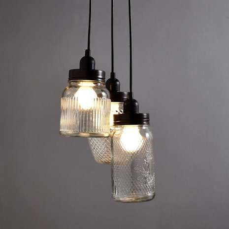 Glass Jar 3 Light Cluster Dunelm Jar Ceiling Light Glass Jar Lamps Glass Pendant Light