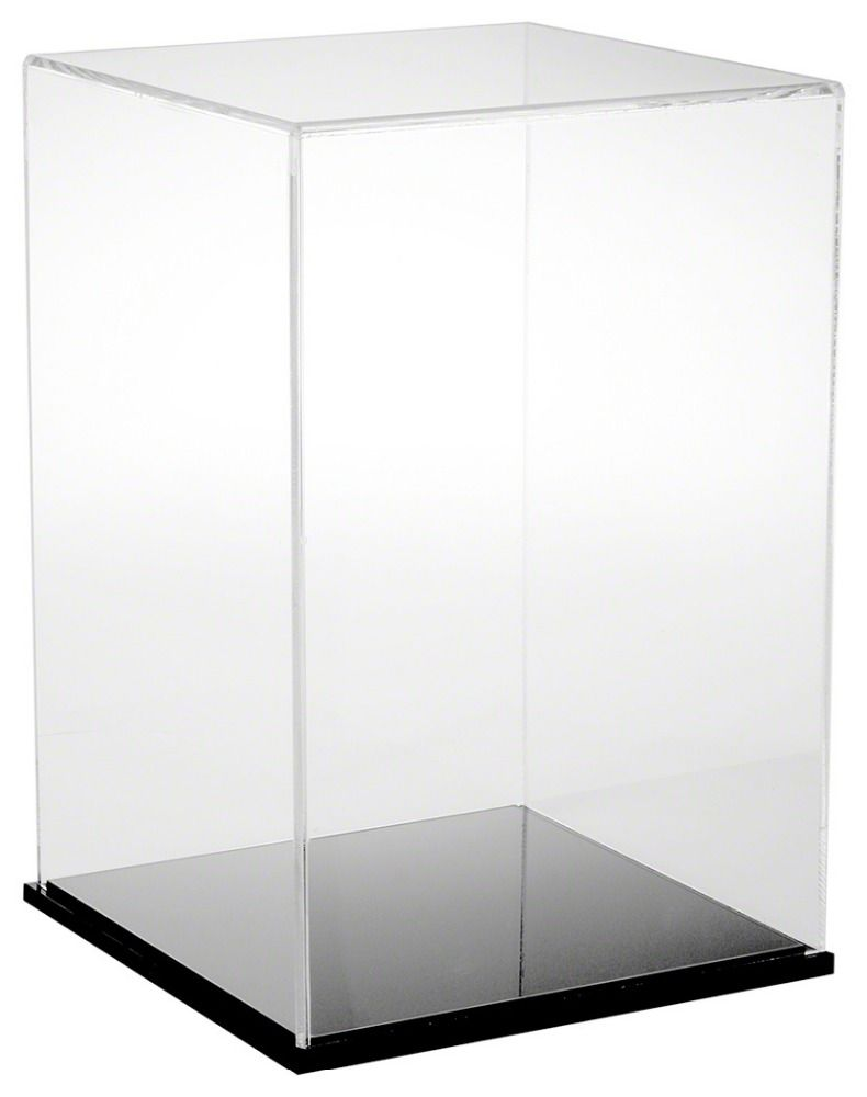 Custom Clear Acrylic Display Box Showcase Plexiglass Display Cabinet Perspex Display Stand With Black Base