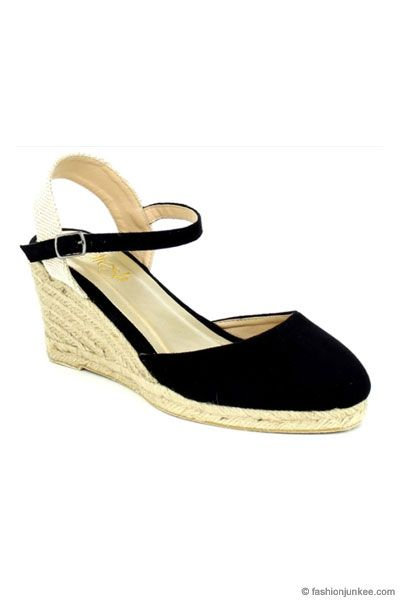 81c2e4375e4 Faux Suede Ankle Espadrille Wedge Sandals-Black