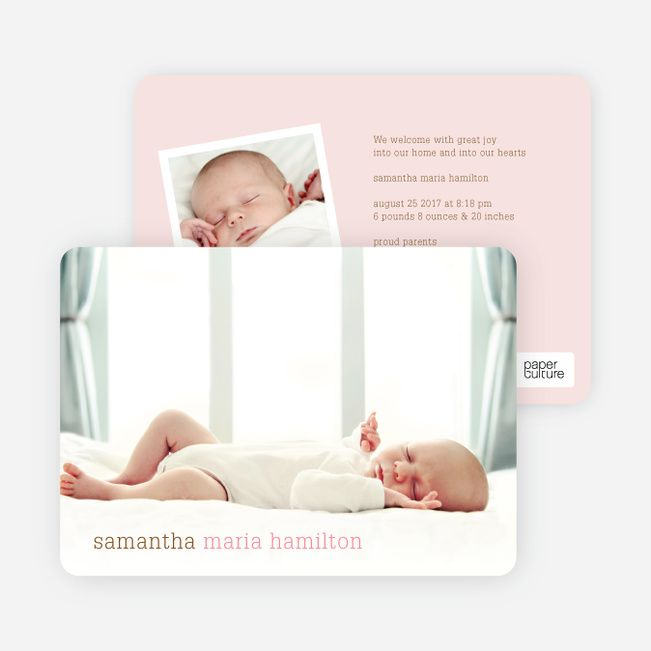 Modern Text Simply Photos Birth Announcements by Paper Culture