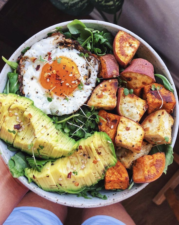 Photo of Greens Sweet Potato and Fried Egg Bowl