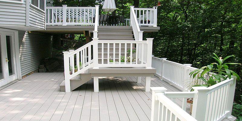 azek composite deck with vinyl railing by elyria fence fences