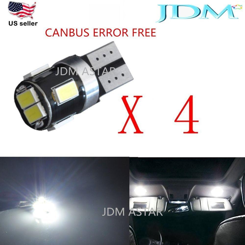 JDM ASTAR 4x T10 White CANBUS Error Free 5630 SMD License Light LED