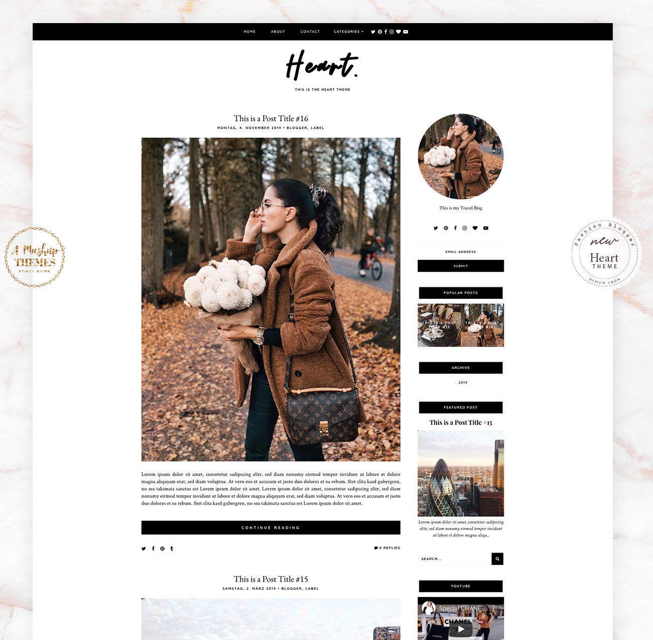 Herz Blogger Vorlage Responsive Design Custom Blogger Design Responsive Blogger Vorlage Blogger Thema Blogspot Vorlage Responsive Design Mobile Web Design Social Media Icons