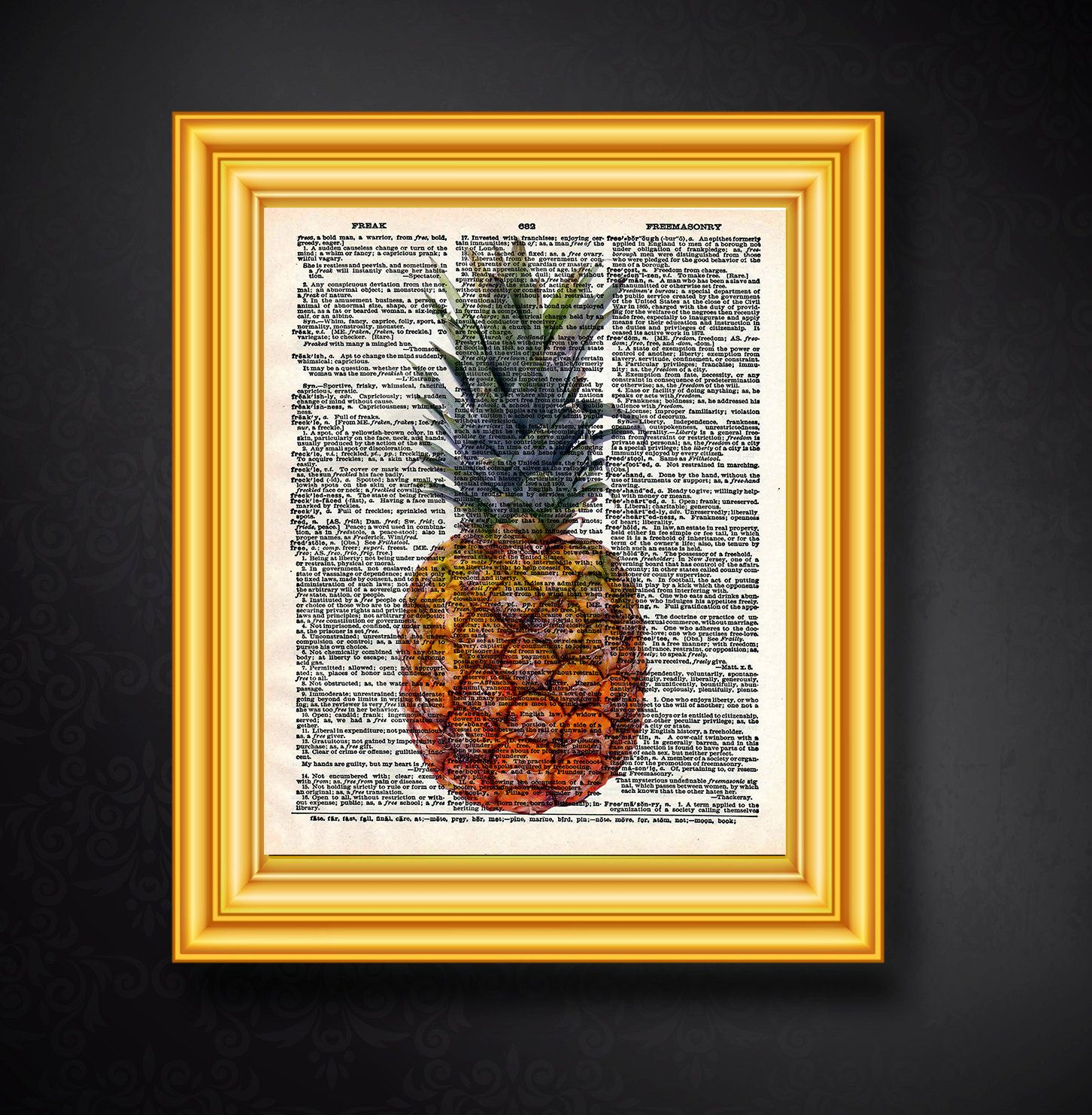 Ananas, Wörterbuch Kunst, Ananas Kunstdruck, Poster, Druckbare Kunst ...