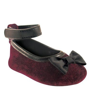 This Burgundy Bow Ankle Strap Flat - Infant is perfect! #zulilyfinds