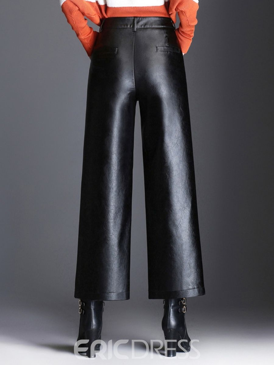 2d8f6e36e3ba6d Ericdress Loose Wide Leg Plain PU High- Waist Women's Casual Pants ...