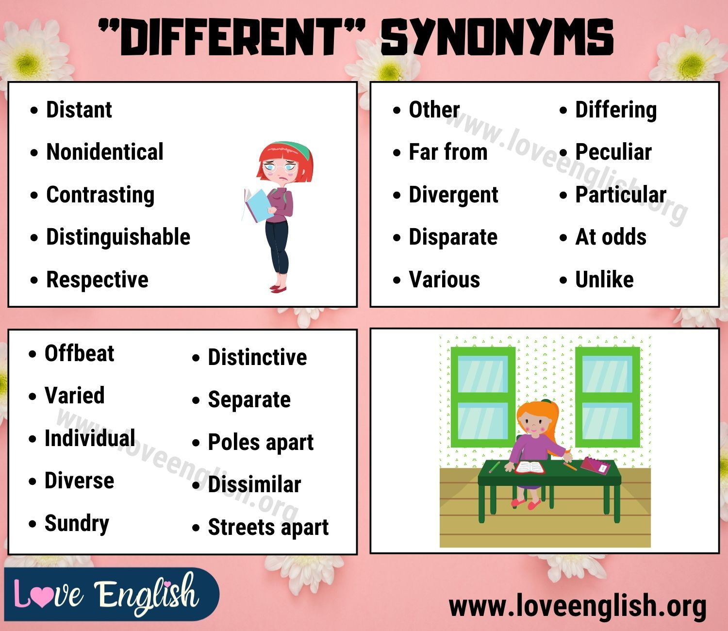 Different Synonym 25 Common Synonyms For Different In English Love English English Love Words Synonym