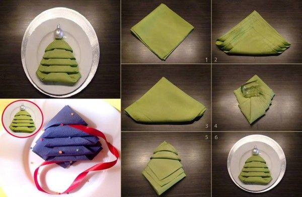 diy napkin shaped like a christmas tree find fun art projects to do at home and arts and crafts ideas - How To Fold A Napkin Like A Christmas Tree