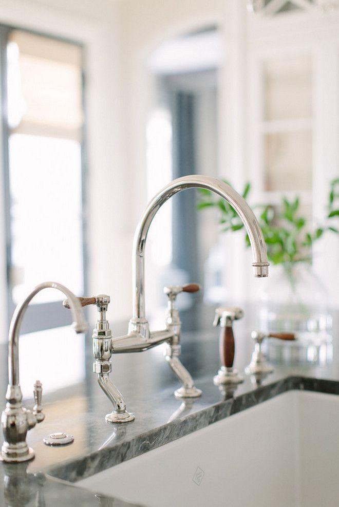 Kitchen Faucet. Waterworks Easton Classic two-hole bridge Gooseneck Kitchen Tap with spray shown in nickel with oak lever handles. & Kitchen Faucet. Waterworks Easton Classic two-hole bridge Gooseneck ...
