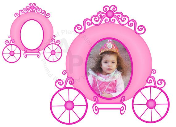 Pink Princess carriage picture frame digital clip art , clipart ...