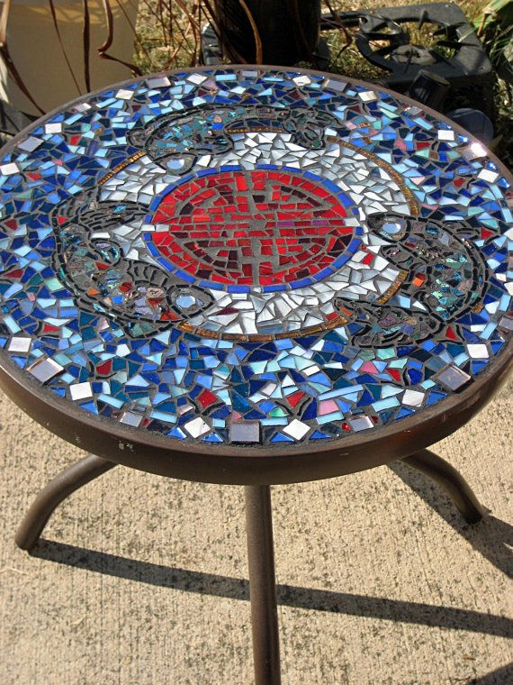Handmade Mosaic Patio Table End Table Plant Stand Indoor