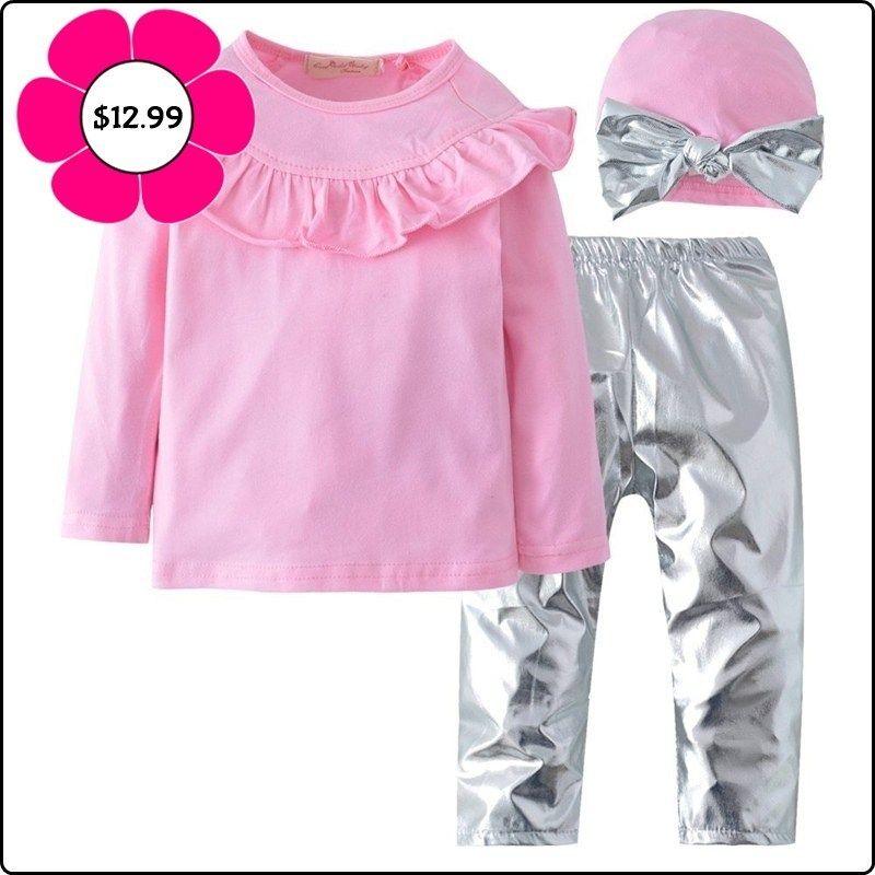 323844777 New-Kid-Baby-Girl-Clothing-Long-Sleeve-ruffles-Pink-Top-Silver ...