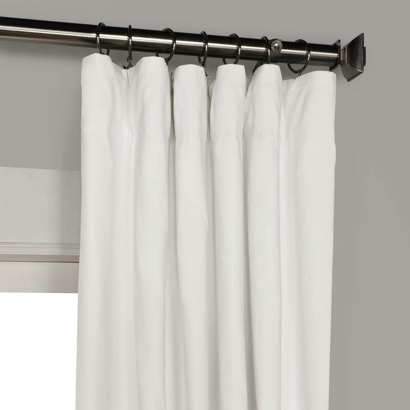Eider Ivory Bryce 100 Cotton Solid Blackout Thermal Rod Pocket Single Curtain Panel Reviews Cotton Blackout Curtains Panel Curtains White Blackout Curtains
