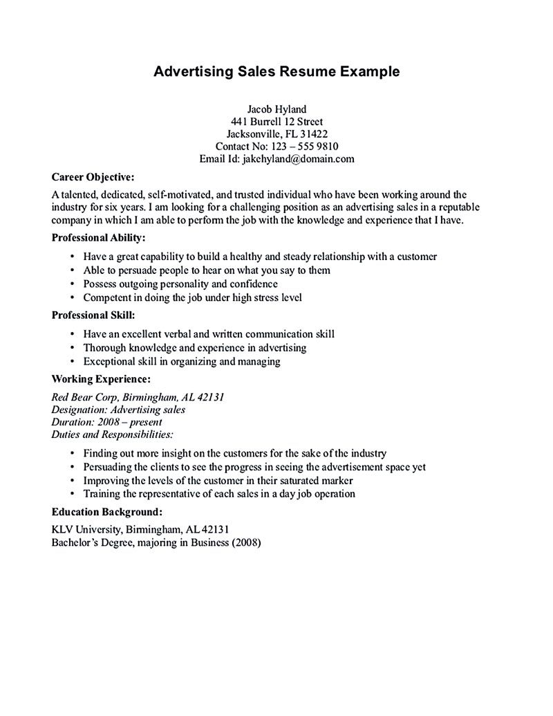 A Good Objective For A Resume Salesperson Resume Example The Salesperson Resume Can Be A Good