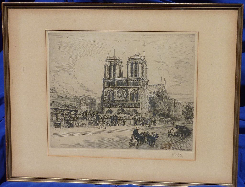 Andor Dobai Szekely  (1877 - 1945) Paris etching of Notre Dame cathedral signed