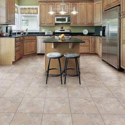 TrafficMASTER Ceramica Cool Grey Resilient Vinyl Tile Flooring   12 In. X  12 In.