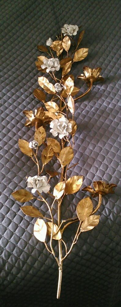 Vintage 1960s Glam Gilt Tole Floral Wall Sconce candle ... on Vintage Wall Sconce Candle Holder Decorating Ideas id=96117