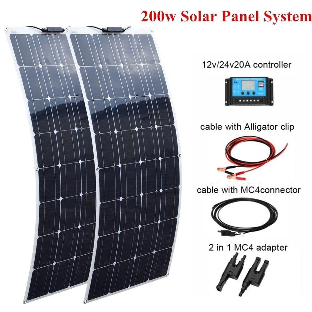 Solar Panel 2 Pcs 100w Flexible 200w 20a 12v 24v Controller For Boat Caravan Home Or Off Grid Backup Solar Power Systems 54 Energy Em 2020