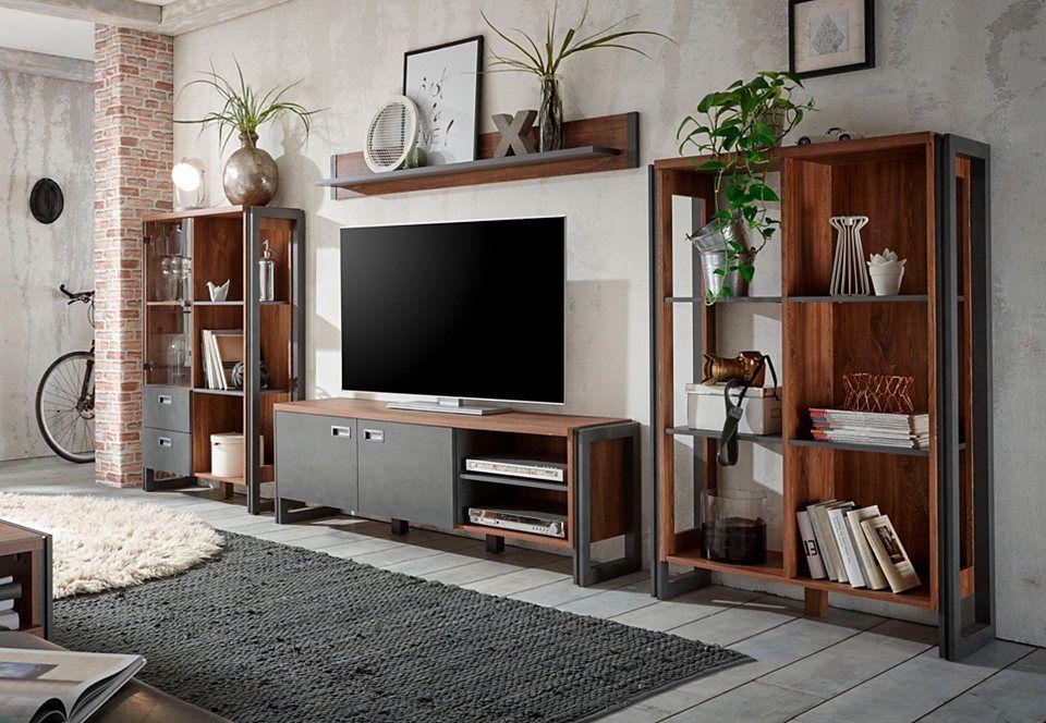 Home affaire Wohnwand (4tlg) »Detroit Set 1«, im angesagten - designer mobel materialmix