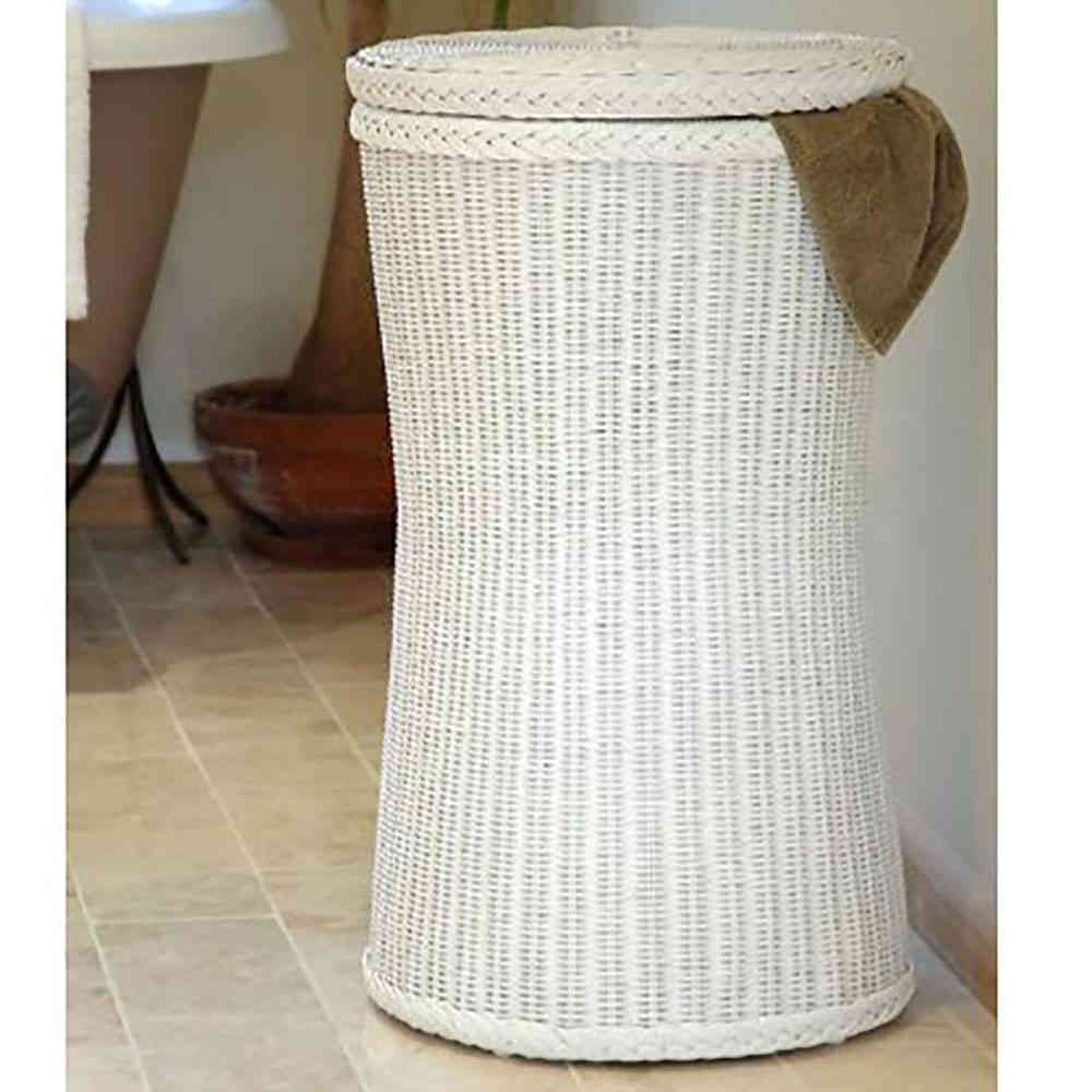 Tall Wicker White Laundry Basket Bin Candle And Blue