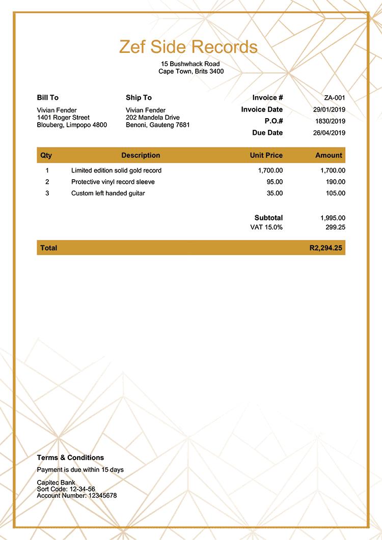 Invoice Template Za Mosaic Invoice Template Invoice Design Template Invoice Design