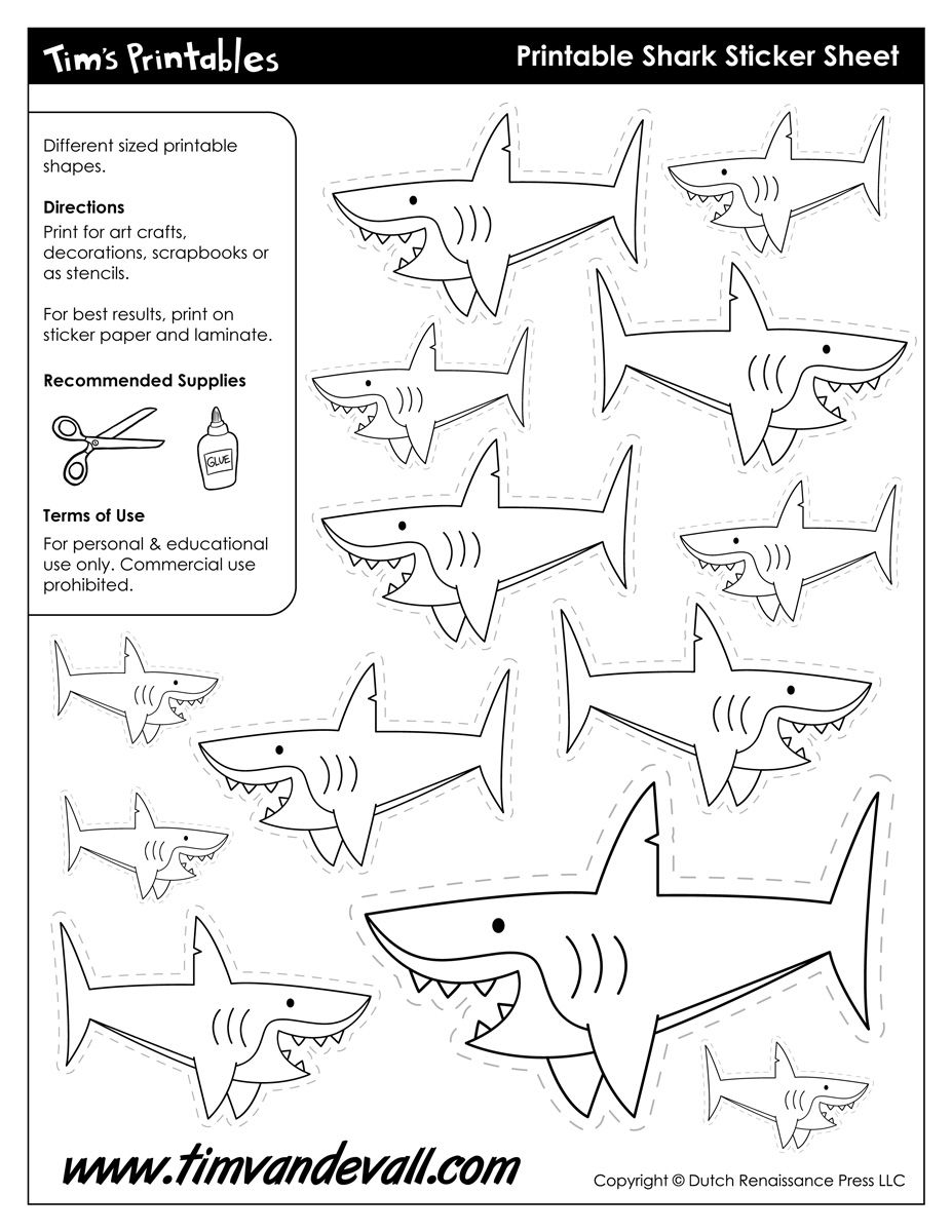 Colouring shapes activities - Free Printable Shark Templates And Shark Shapes For Kids To Use In School Arts And Crafts