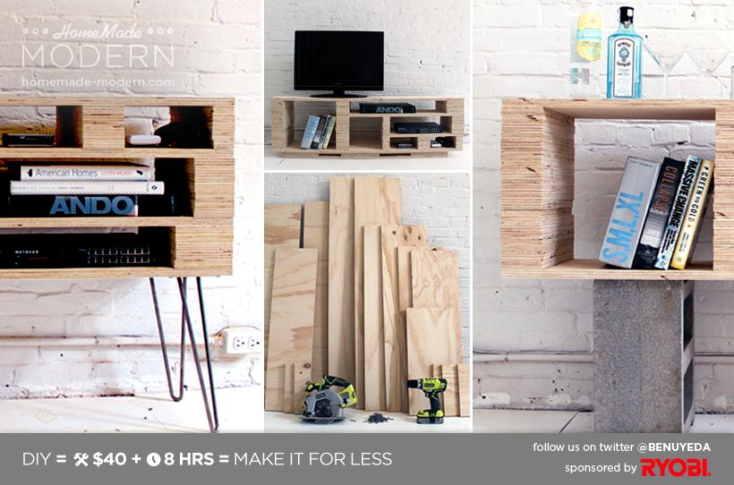 Superb HomeMade Modern DIY Media Console (for Use As A Sofa Table) Images