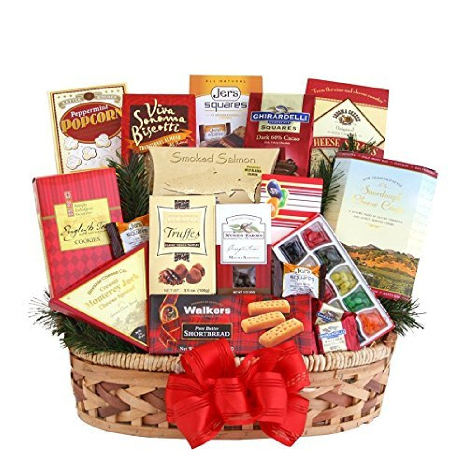 Reindeer Games Christmas Gift Basket - Smoked Salmon, Cheese, Candy,