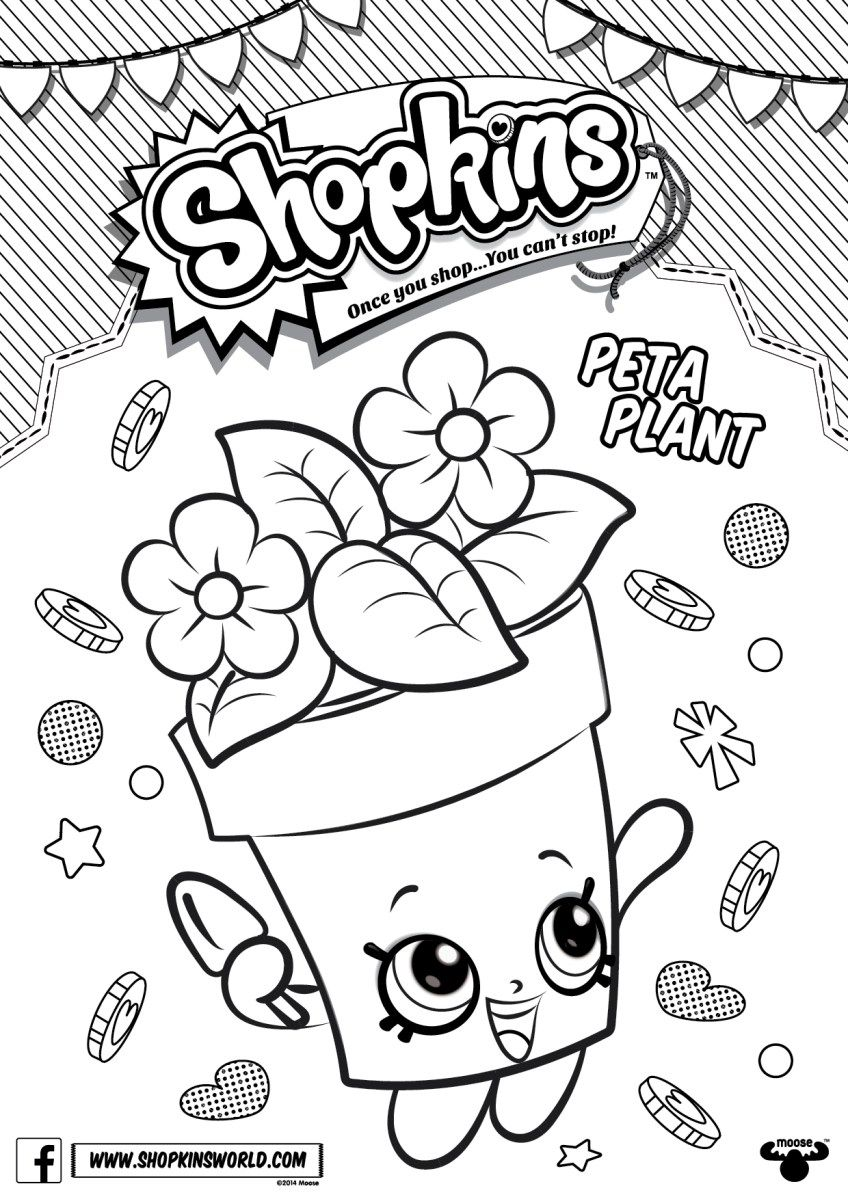 Shopkins Coloring Pages For Free Printable. shopkins peta plant coloring pages printable and book to print for  free Find more online kids adults of Made by A Princess Shopkins Free Downloads Birthdays
