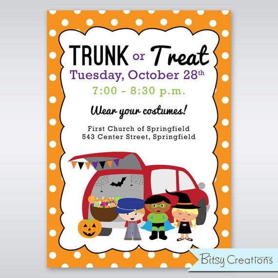 Trunk Or Treat Printable Invitation Digital By Bitsycreations Printable Halloween Party Invitations Party Invite Template Halloween Party Invitations