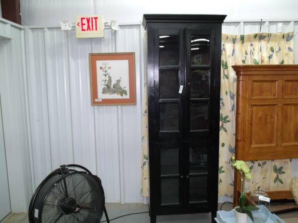 Tall Glass Front Rustic Look 4 Door Cabinet Item# 10655