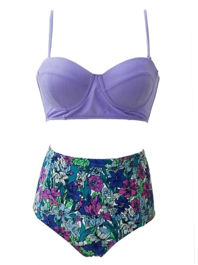 purple push up bikini top and floral high waist bottom. Black Bedroom Furniture Sets. Home Design Ideas