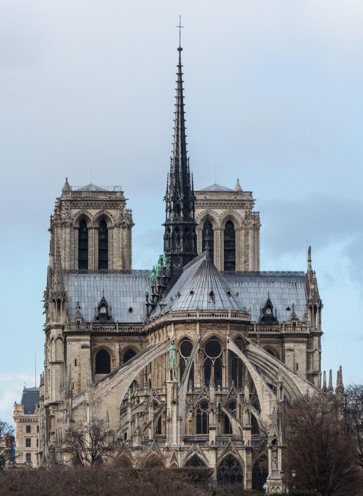 Notre Dame Paris Rear Facade French Gothic Architecture Cathedral Paris