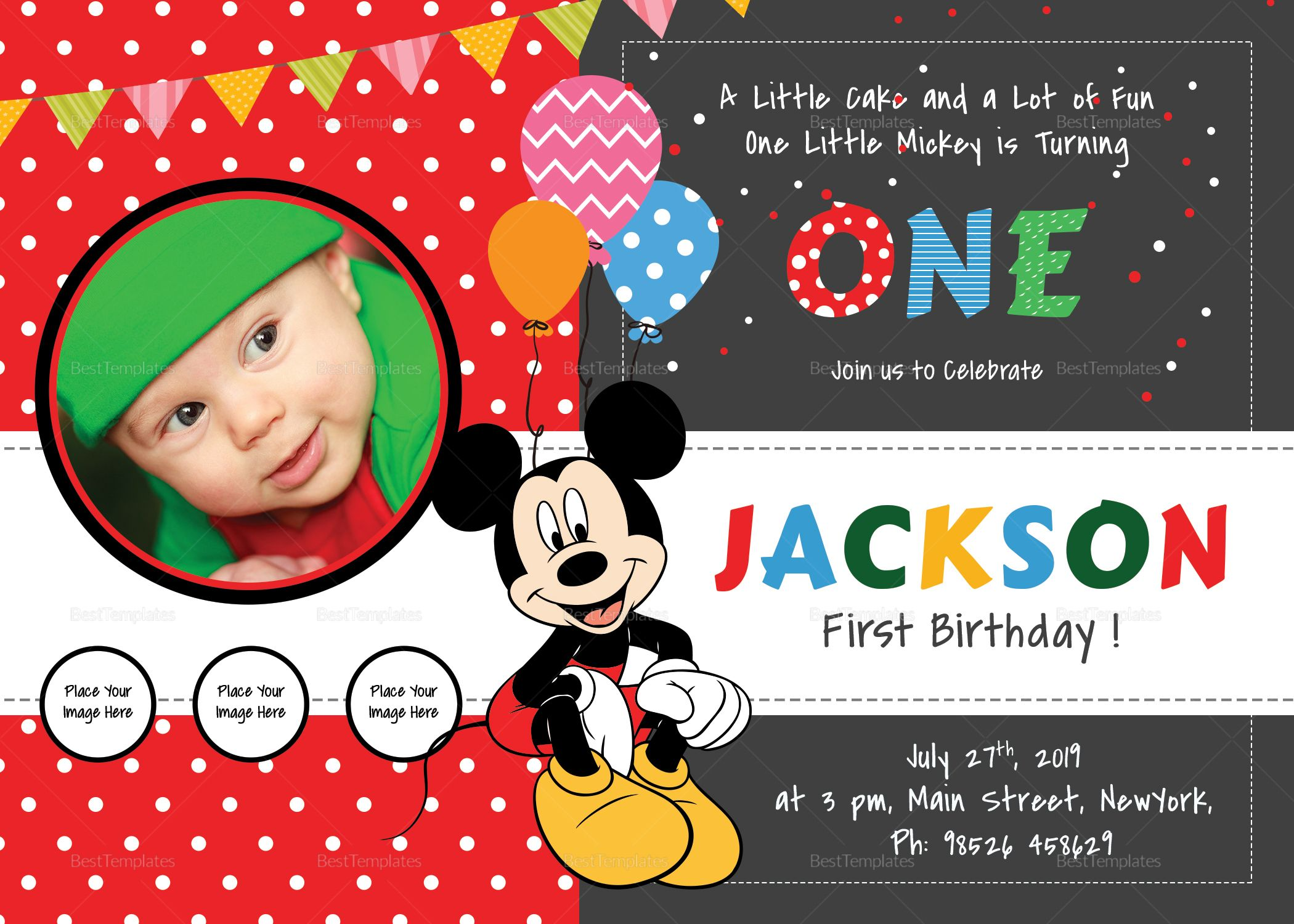 Exciting Mickey Mouse Birthday Invitation Card Template In 2018
