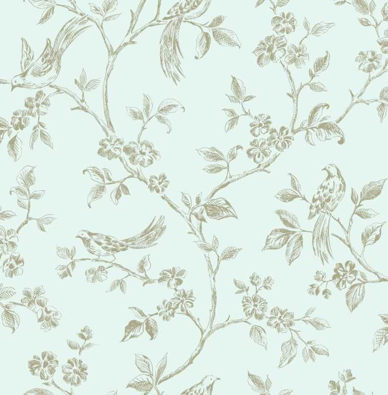 Shabby Chic Birds Duck Egg Blue Gold Floral Feature Wallpaper Lovely And Elegant Not Too Loud But Simply Gorgeous