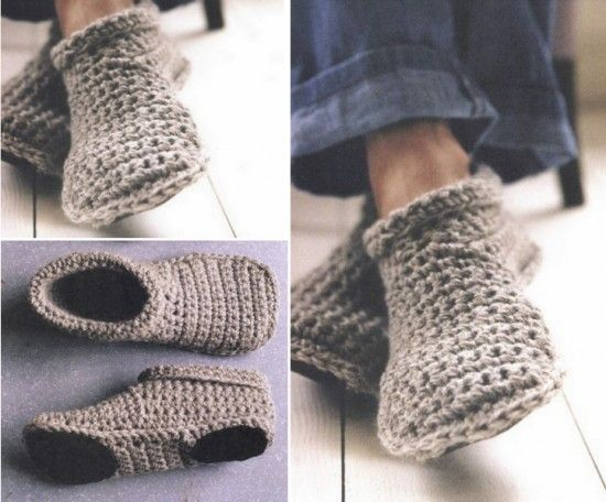 Unisex Slippers Crochet And Knitted Free Patterns Tricot